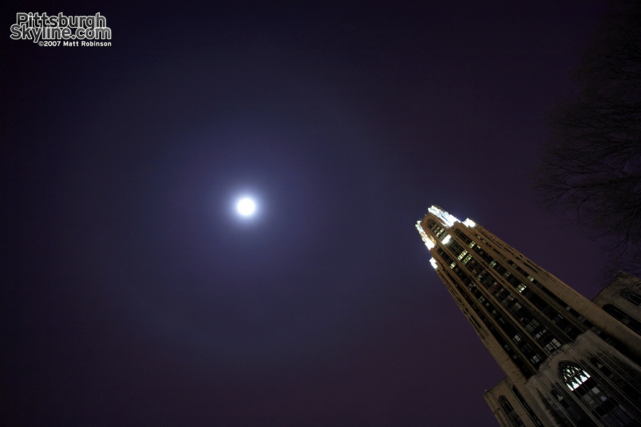 Moon halo over the Cathedral of Learning