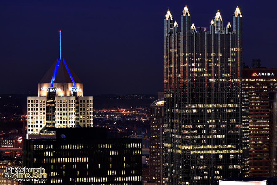 PPG Place and Fifth Avenue Place at dusk