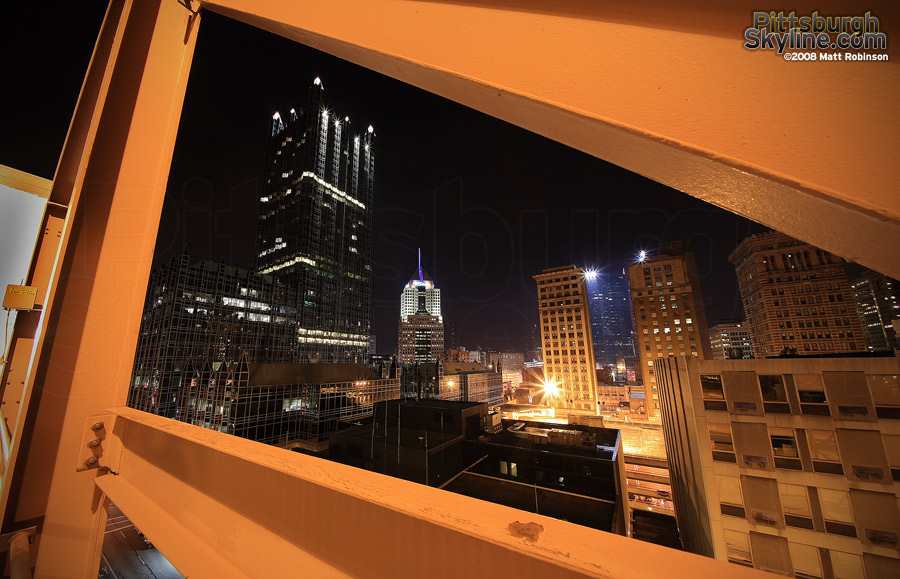 Orange steel beams frame One PPG Place