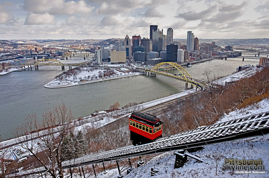 Wintry Pittsburgh Scene and the Duquesne Incline.