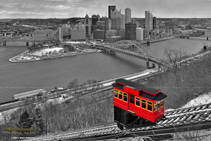 Black and White Pittsburgh Skyline with red Duquesne Incline