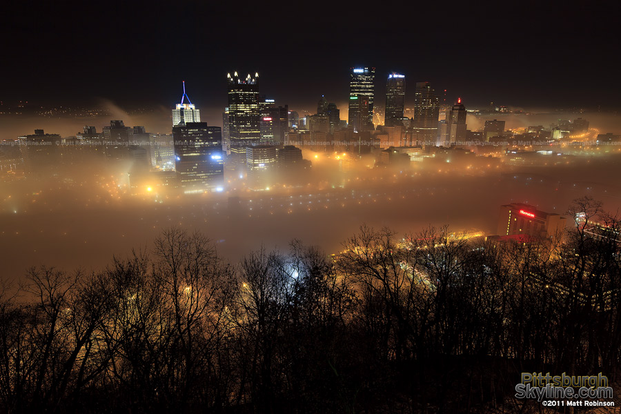 Fog flows over the Allegheny River