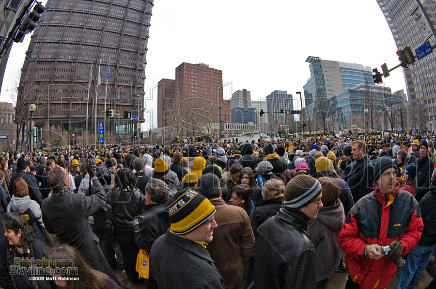 Crowd gathers on Grant Street downtown Pittsburgh.