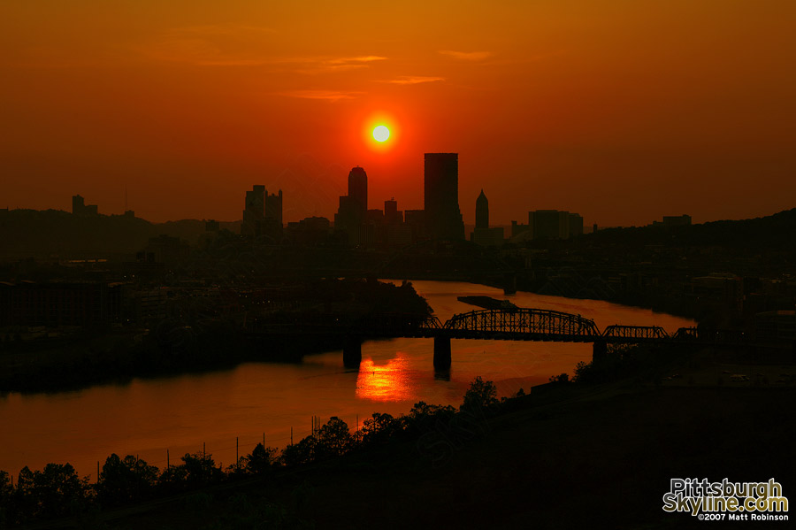 Sunset over Pittsburgh and the Mon