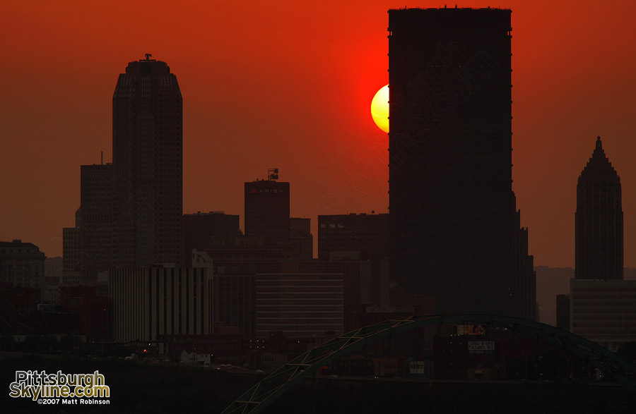 The sun set behind Pittsburgh's US Steel building