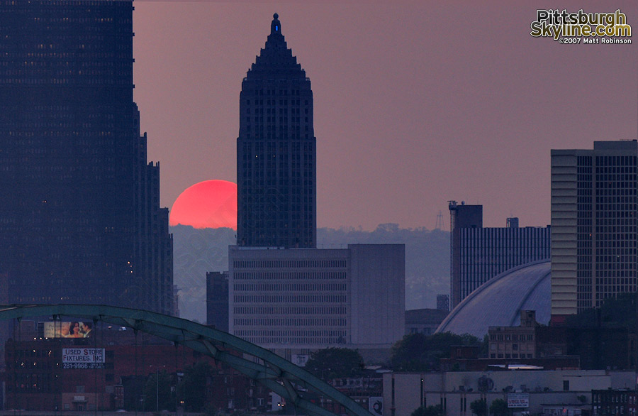 The sun mimics the Birmingham Bridge and Mellon Arena