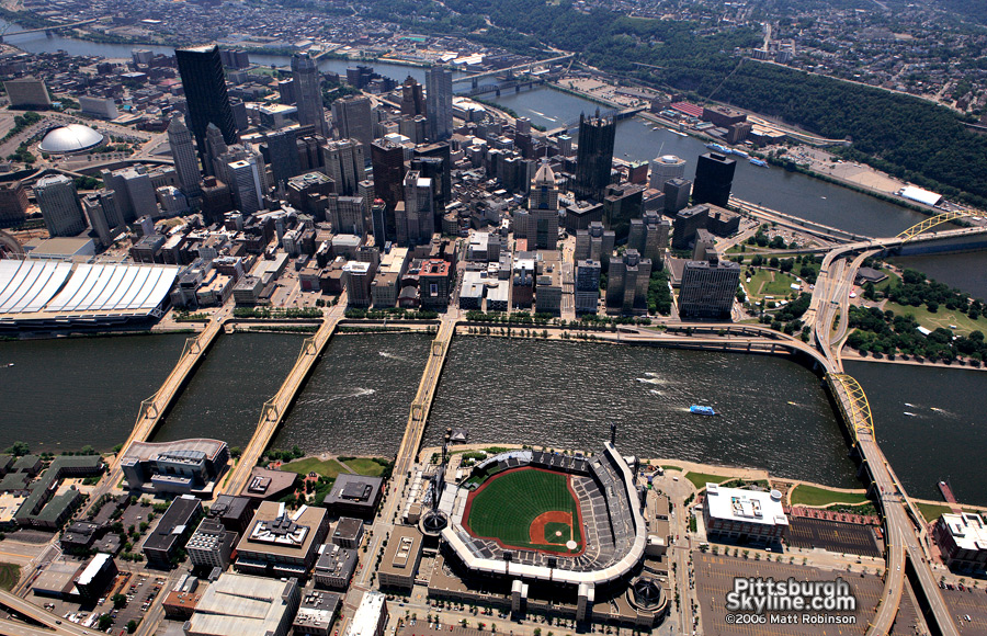 Flying over downtown Pittsburgh