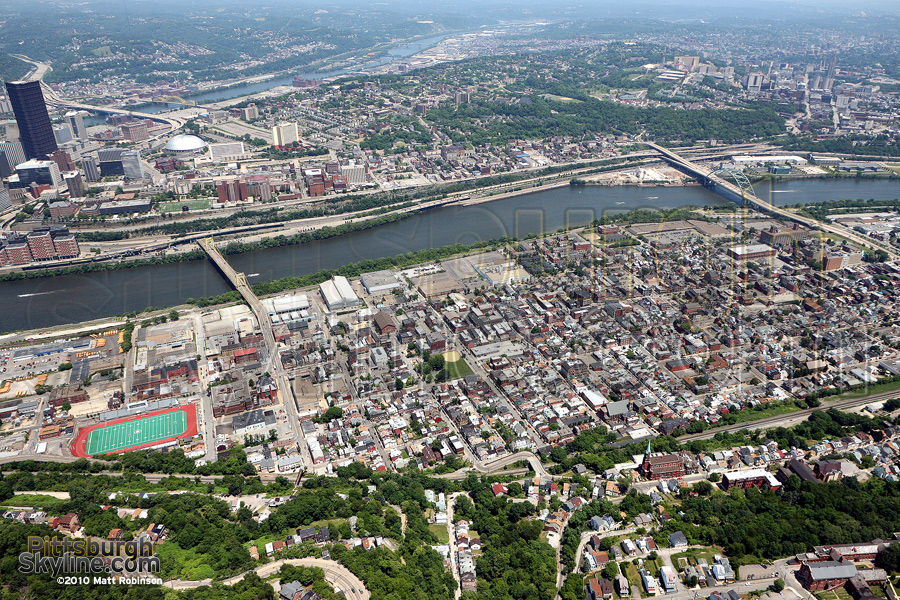 Aerial of the Southside, Pittsburgh