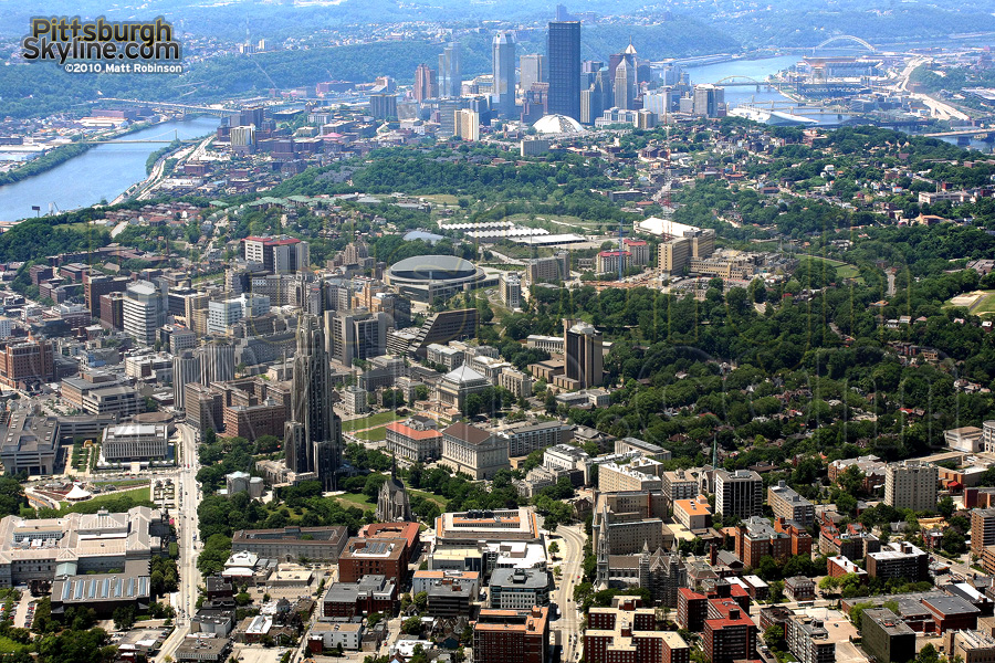 Aerial of Oakland and Pittsburgh
