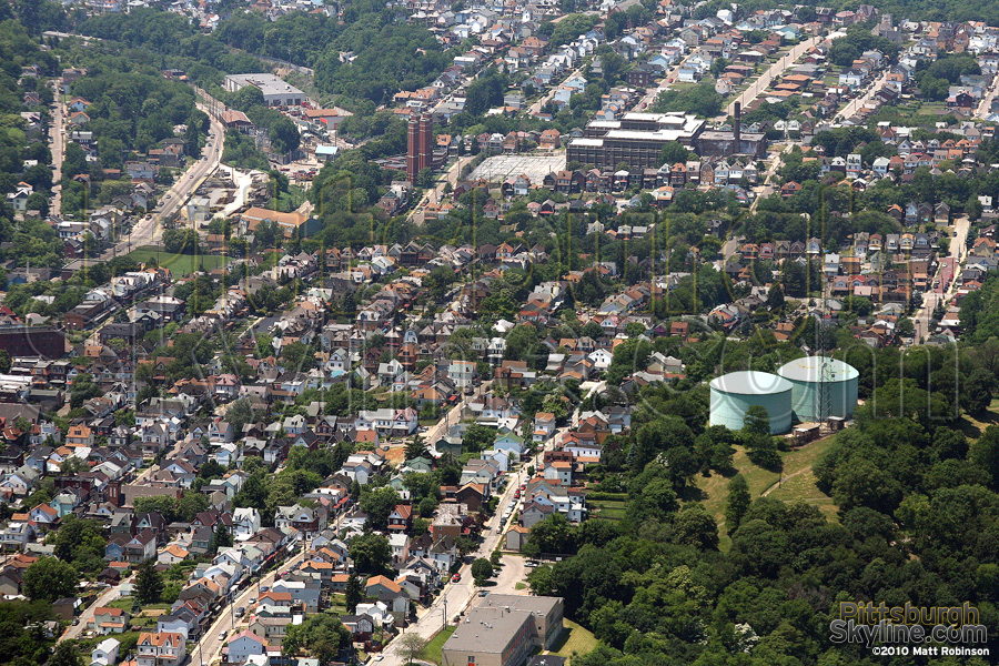 Aerial of Pittsburgh homes