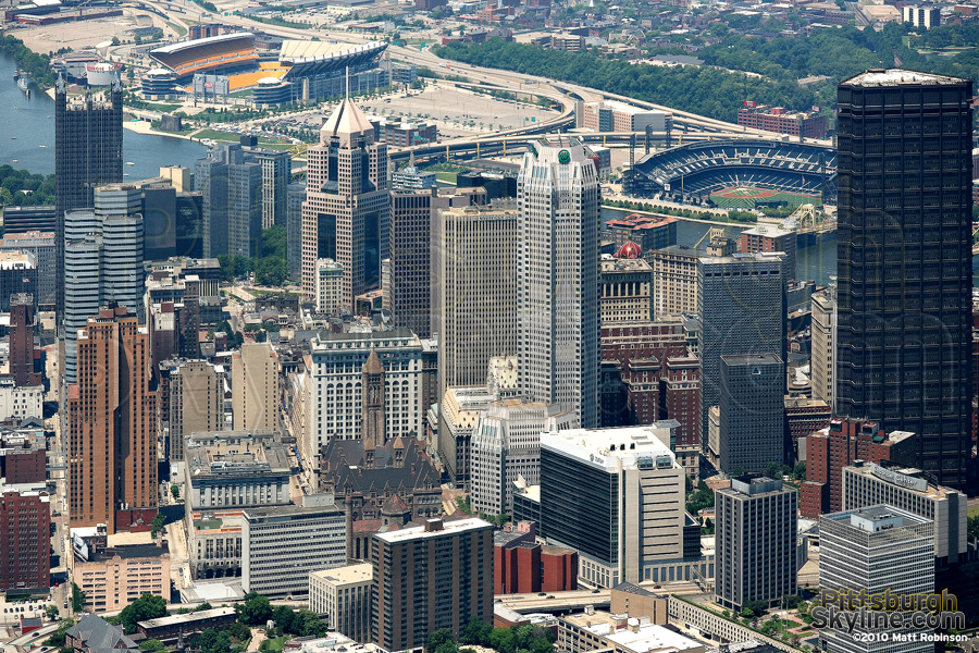Aerial of Pittsburgh skyscrapers
