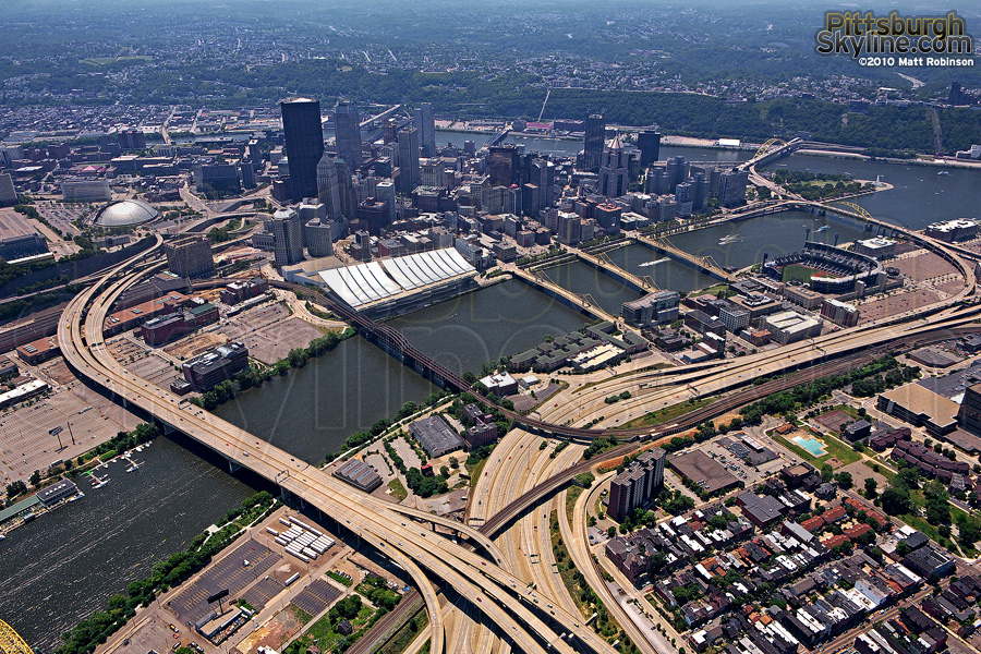 Aerial of Pittsburgh with interstate 279