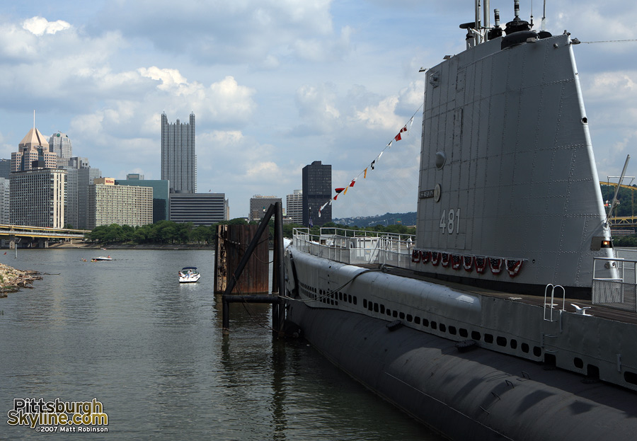 The USS Requin keeps an eye on downtown.