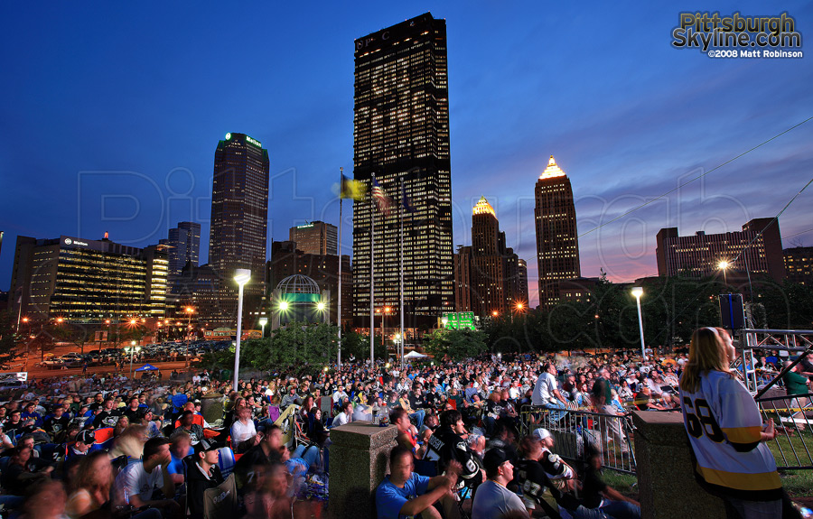 Penguins Fans gather at Mellon Arena to watch the 2008 Stanley Cup finals outdoors.
