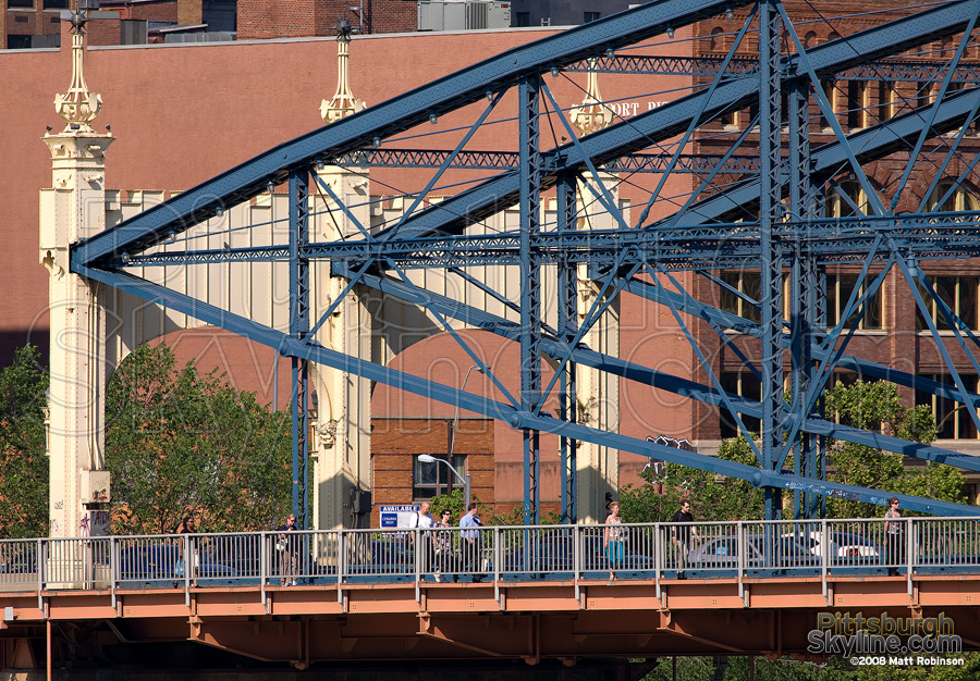 Pedestrian venture across the Smithfield Street Bridge.