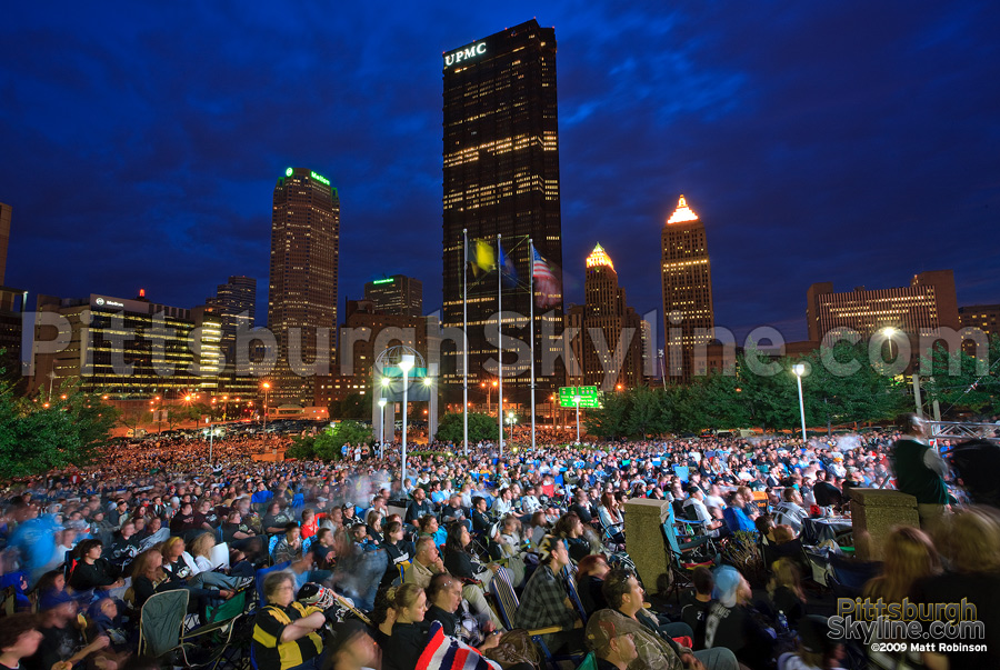 Thousands of Penguins fans watch Game 4 on the Jumbotron outside Mellon Arena