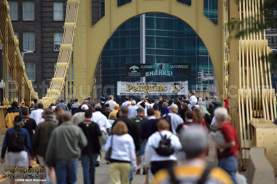 Crossing the Roberto Clemente Bridge