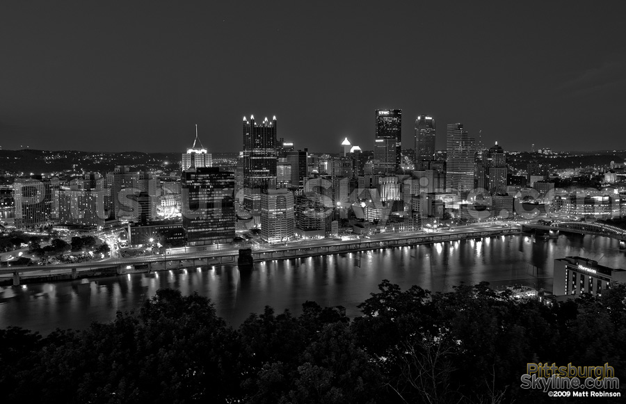 Black and white Pittsburgh from Mt. Washington