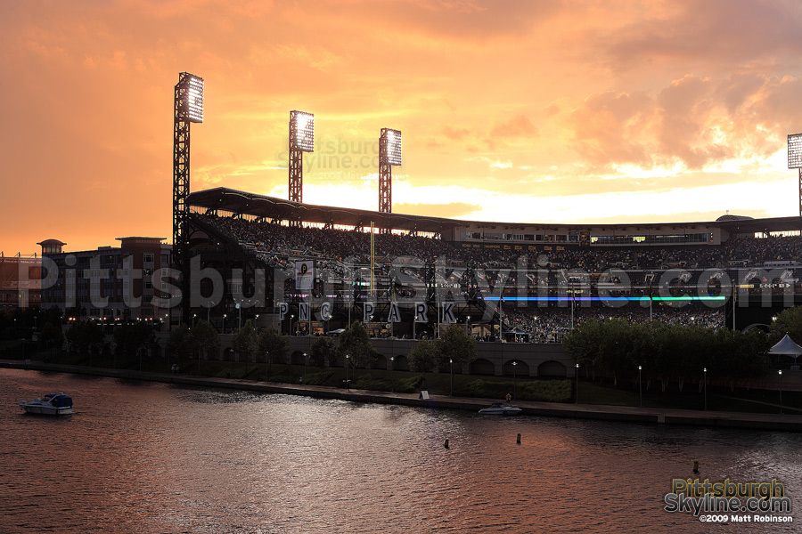 Dramatic sky behind PNC Park