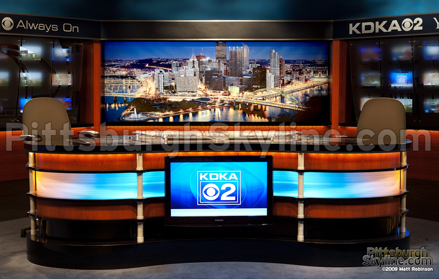 Pittsburgh Skyline nighttime cityscape backdrop, closeup, KDKA Studio