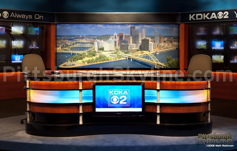 Pittsburgh Skyline daytime cityscape backdrop, closeup, KDKA Studio