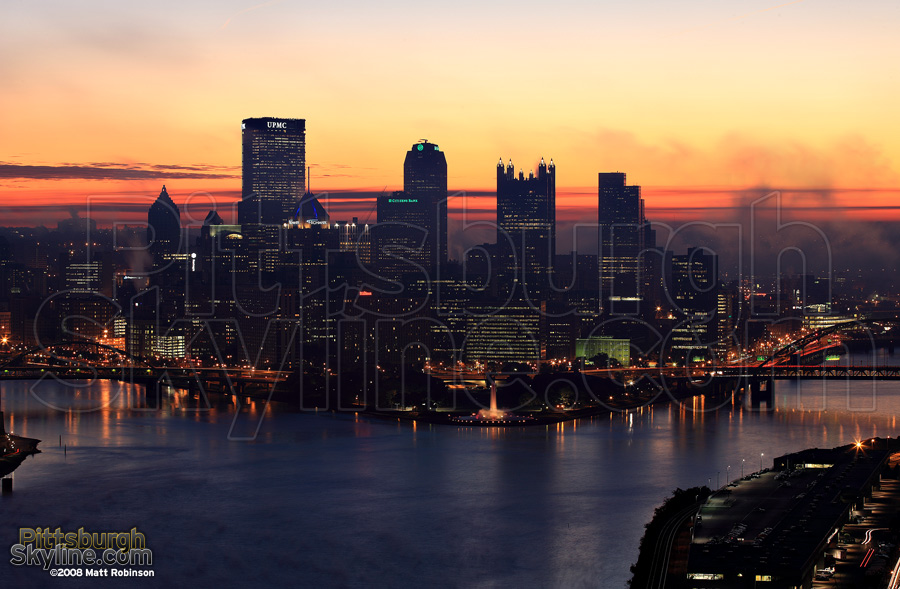 Moments before sunrise in Pittsburgh.