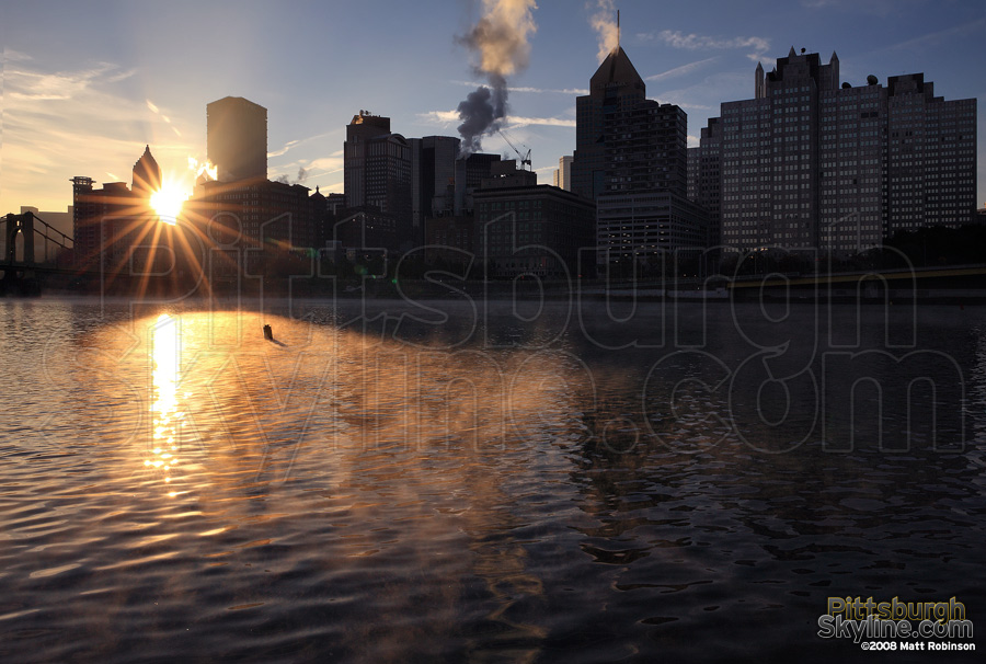 Morning sunrise in Pittsburgh over the Allegheny River.