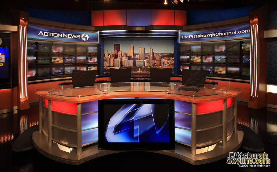 Daytime skyline duratrans on WTAE set featuring PittsburghSkyline.com photographs