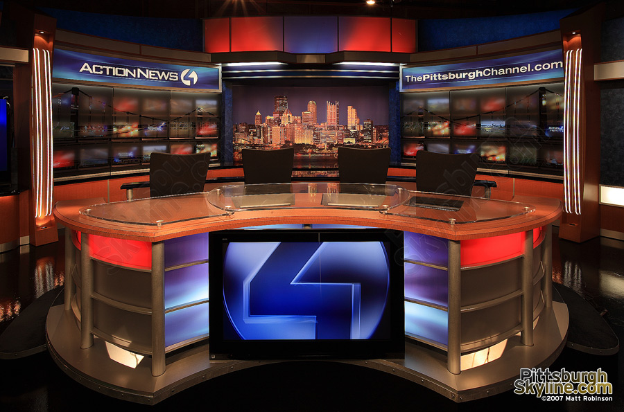 Nighttime skyline duratrans on WTAE set featuring PittsburghSkyline.com photographs