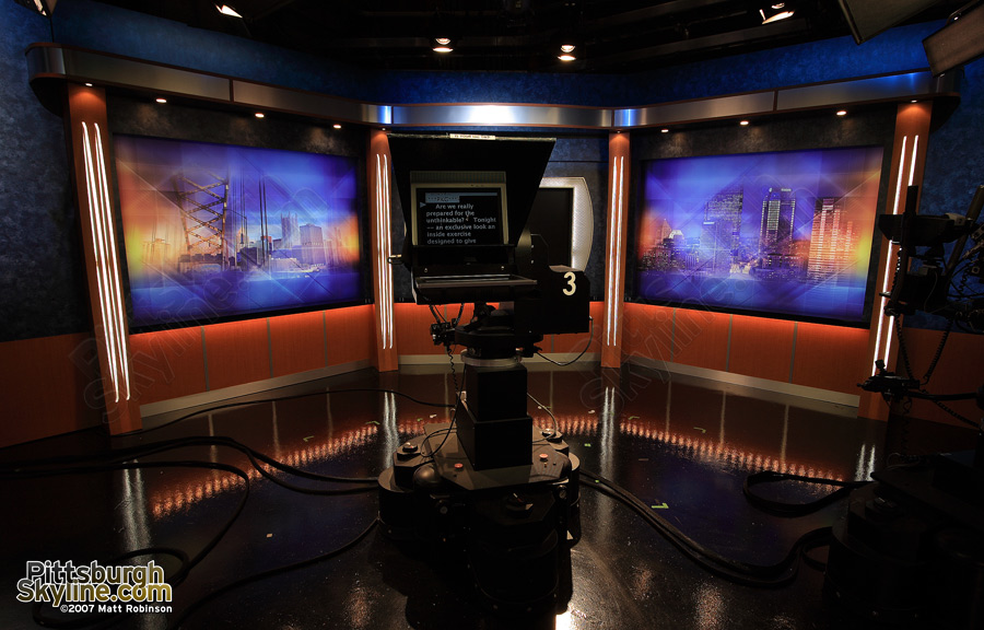 Interview area of WTAE Set featuring PittsburghSkyline.com photographs