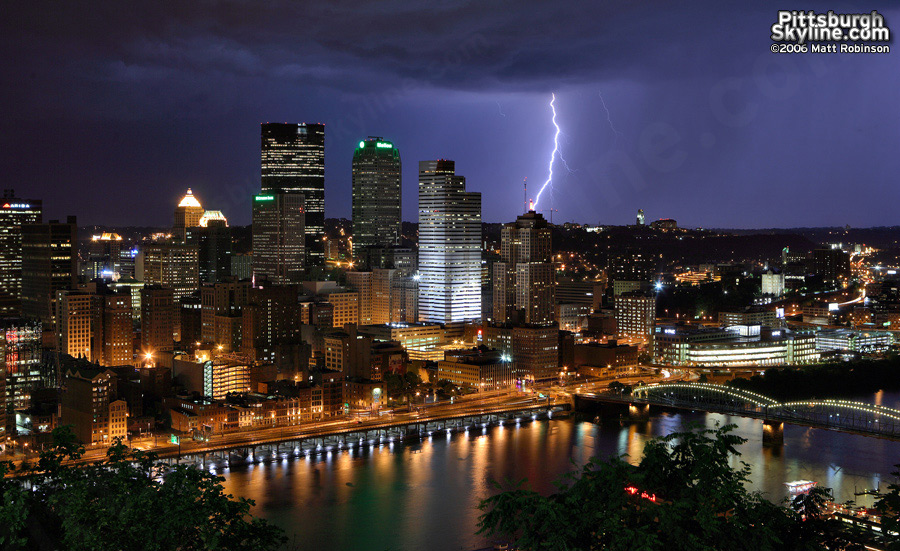 Lightning strikes behind the Pittsburgh Skyline from Mount Washington