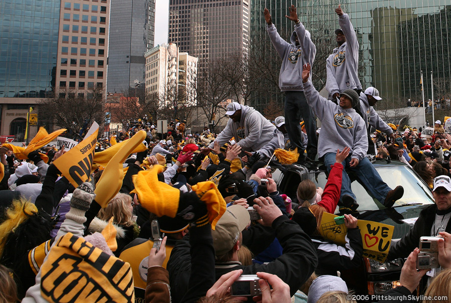 Steelers Defensive Secondary in the Super Bowl Parade