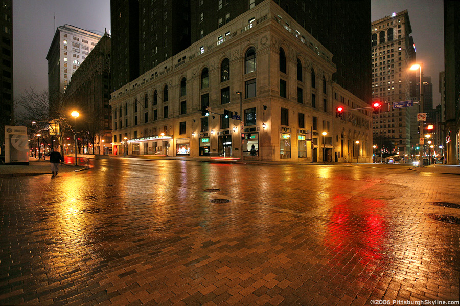 Rainy Grant Street at night, Pittsburgh